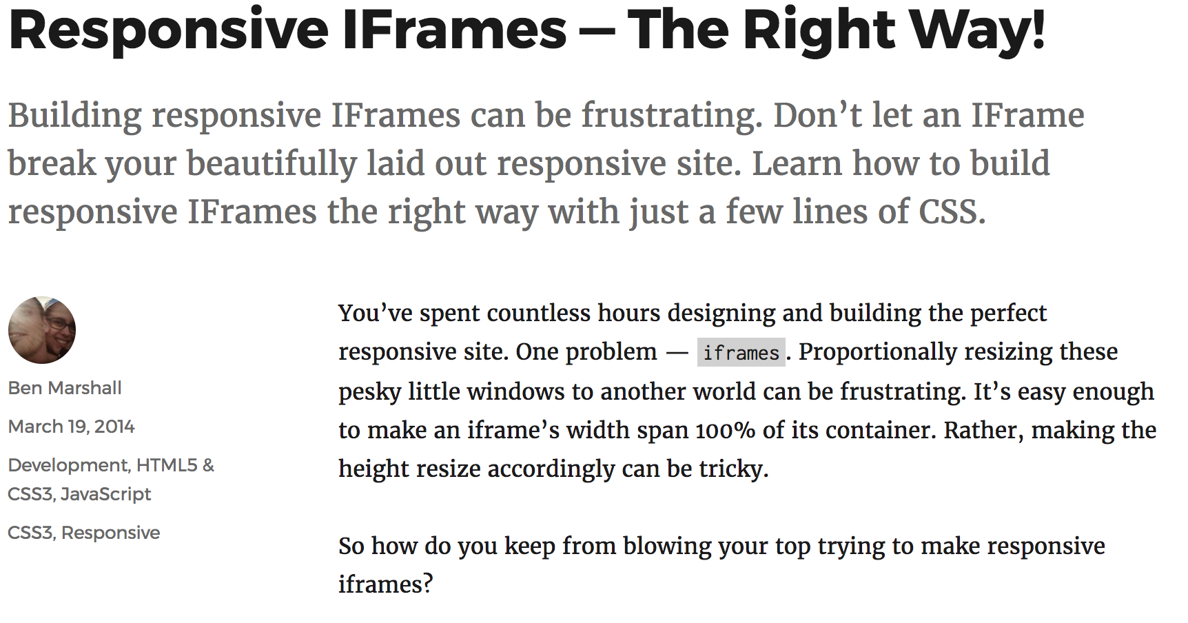 How to Embed an iFrame the Responsive Way